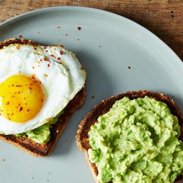 """Moroccan Guacamole"" Toasts with Fried Egg"