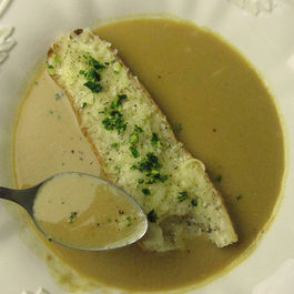 "Garlic Soup With Gruyere ""Crouton"""
