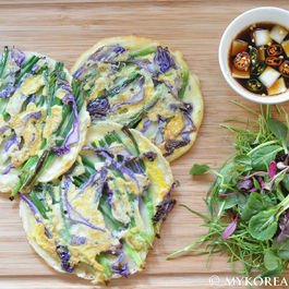 Pajeon ?? (Green Onion Pancake w Red Cabbage)
