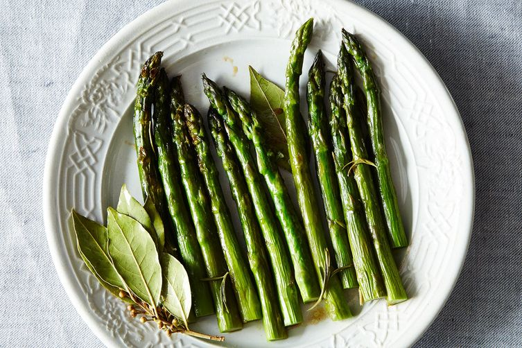 Patricia Wells' Braised Asparagus with Fresh Rosemary and Bay Leaves on Food52