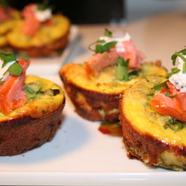 Zucchini & Goat Cheese Frittatas with Smoked Trout