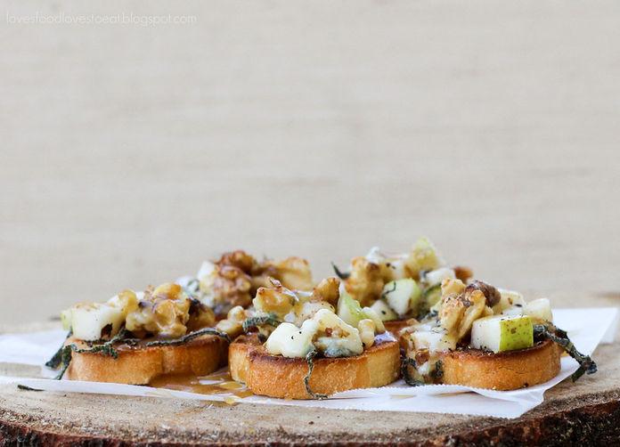 Pear, Walnut, & Bleu Crostini with Salted Maple Caramel Drizzle