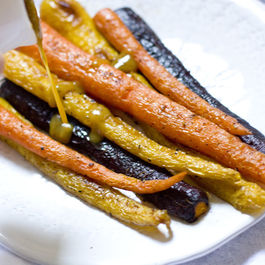ROASTED RAINBOW CARROTS :: HERBED BROWN BUTTER, DIJON, MAPLE
