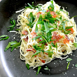 capellini al la carbonara: spring version