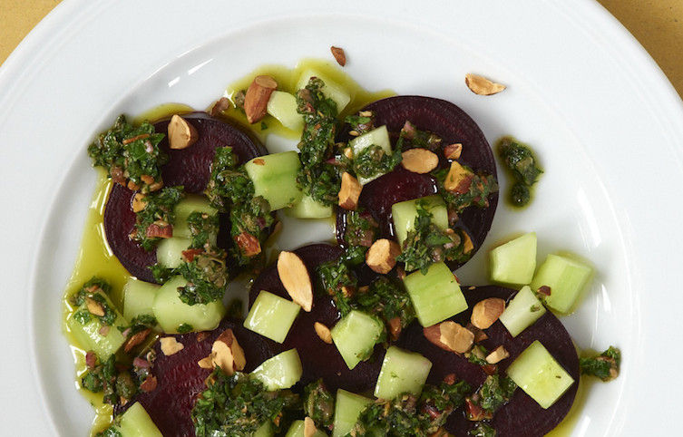 Beet and Cucumber Salad with Toasted Almond Salsa Verde