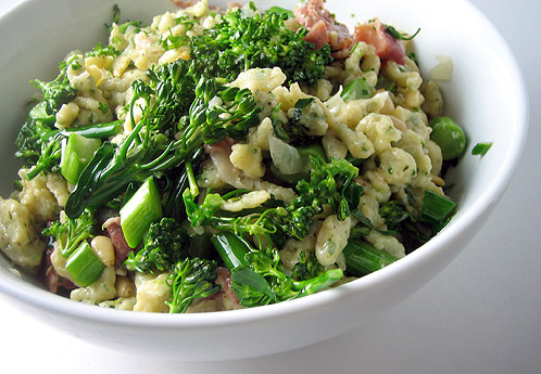Brown butter spaetzle with prosciutto and broccoli rabe
