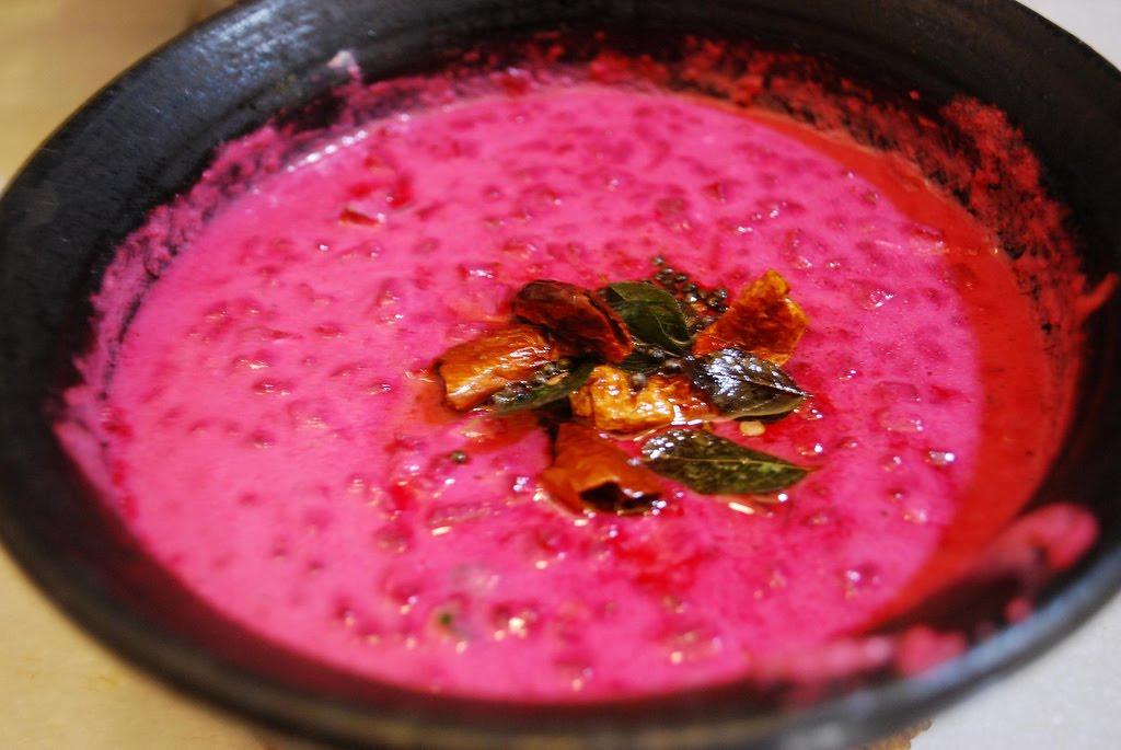 PACHADI ( Sauteed beetroot in warm and spicy yogurt gravy)