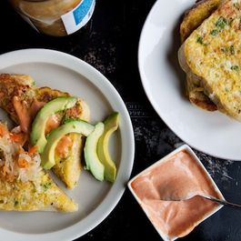 Savory French Toast with Kimchi and Pink Sauce