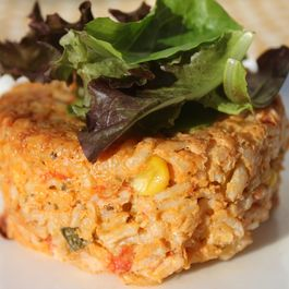 Sweet Corn, Tomato and Basil Risotto Cakes