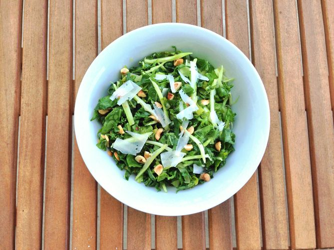 5-Ingredient Broccoli Stem and Kale Salad with Toasted Hazelnuts: