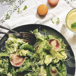 Butter Lettuce Salad with Watermelon Radishes & Sugar Snap Peas