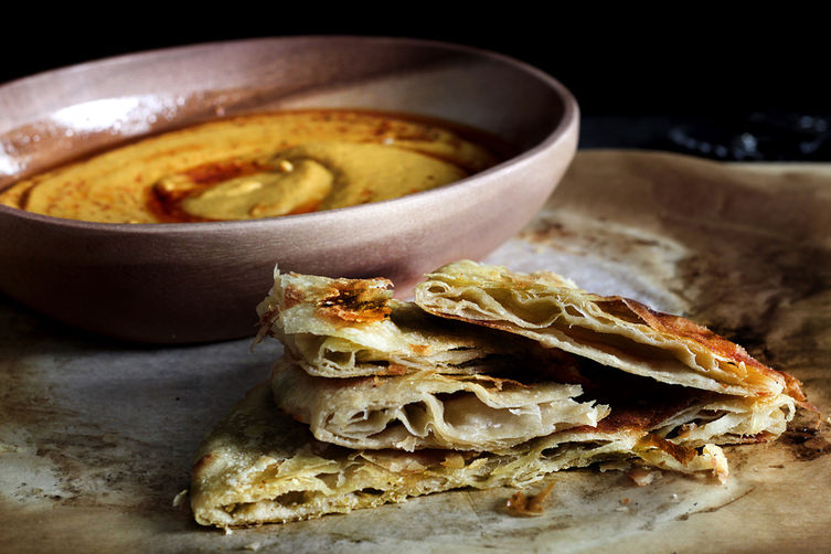chewy layered roti and a kickass dip