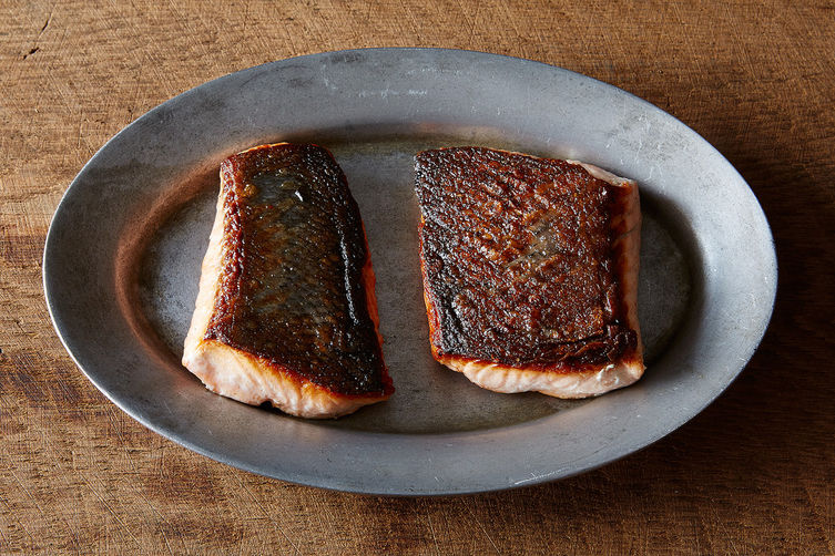 Russ Parsons's Crisp-Skinned Salmon (Plus Creamy Leeks and Cabbage