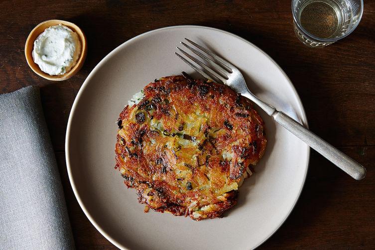 Scallion Potato Pancakes with Vinegar Cream
