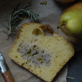 Savory buttermilk brioche with a pear, rosemary & meat filling