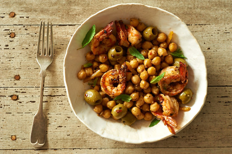 Savory Shrimp with Chickpeas, Green Olives, and Preserved Lemon