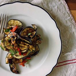 Grilled Eggplant Agrodolce with Mint & Fresno Pepper