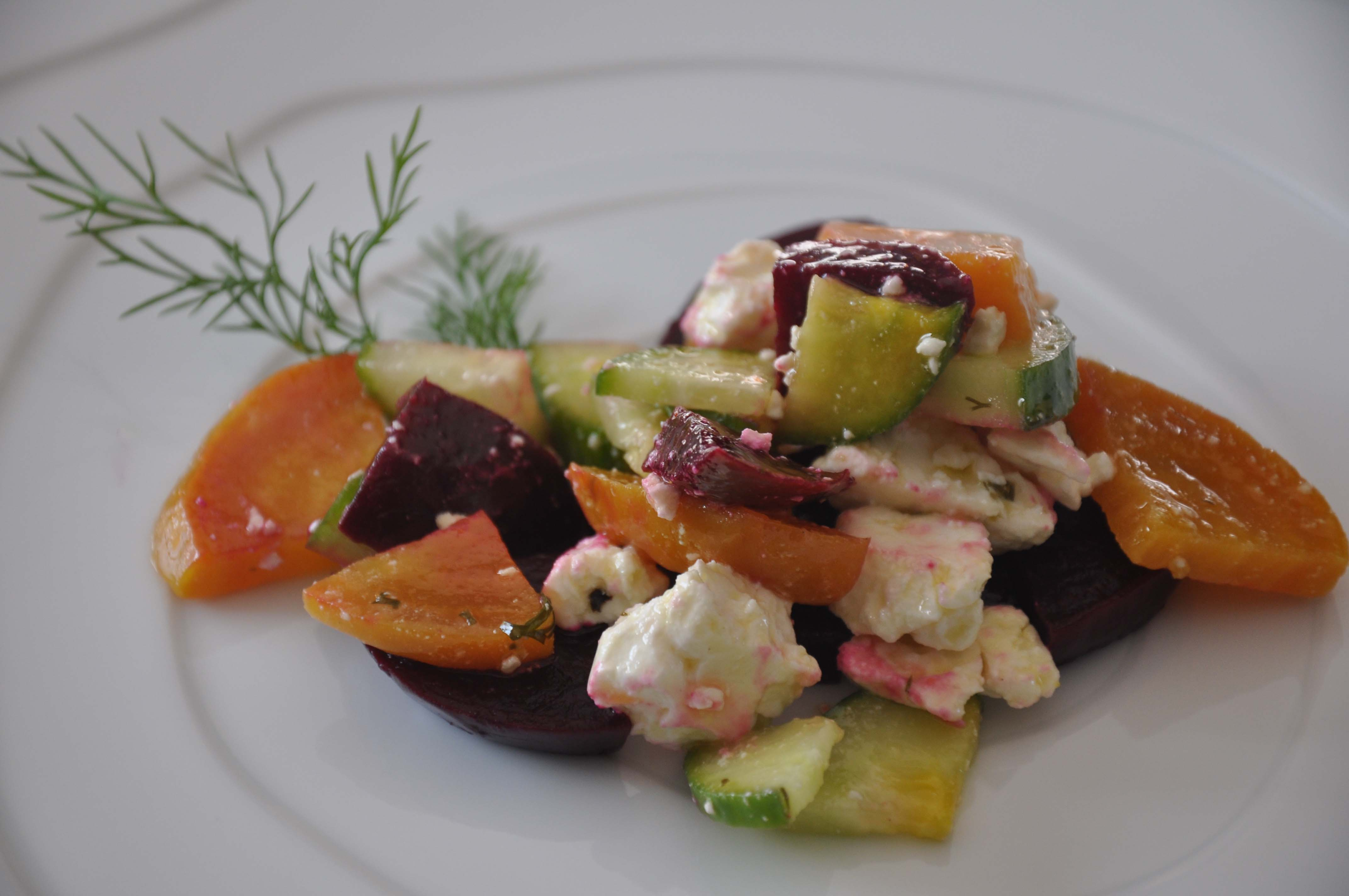 Beet, Cucumber, and Feta Salad with Dill Vinaigrette