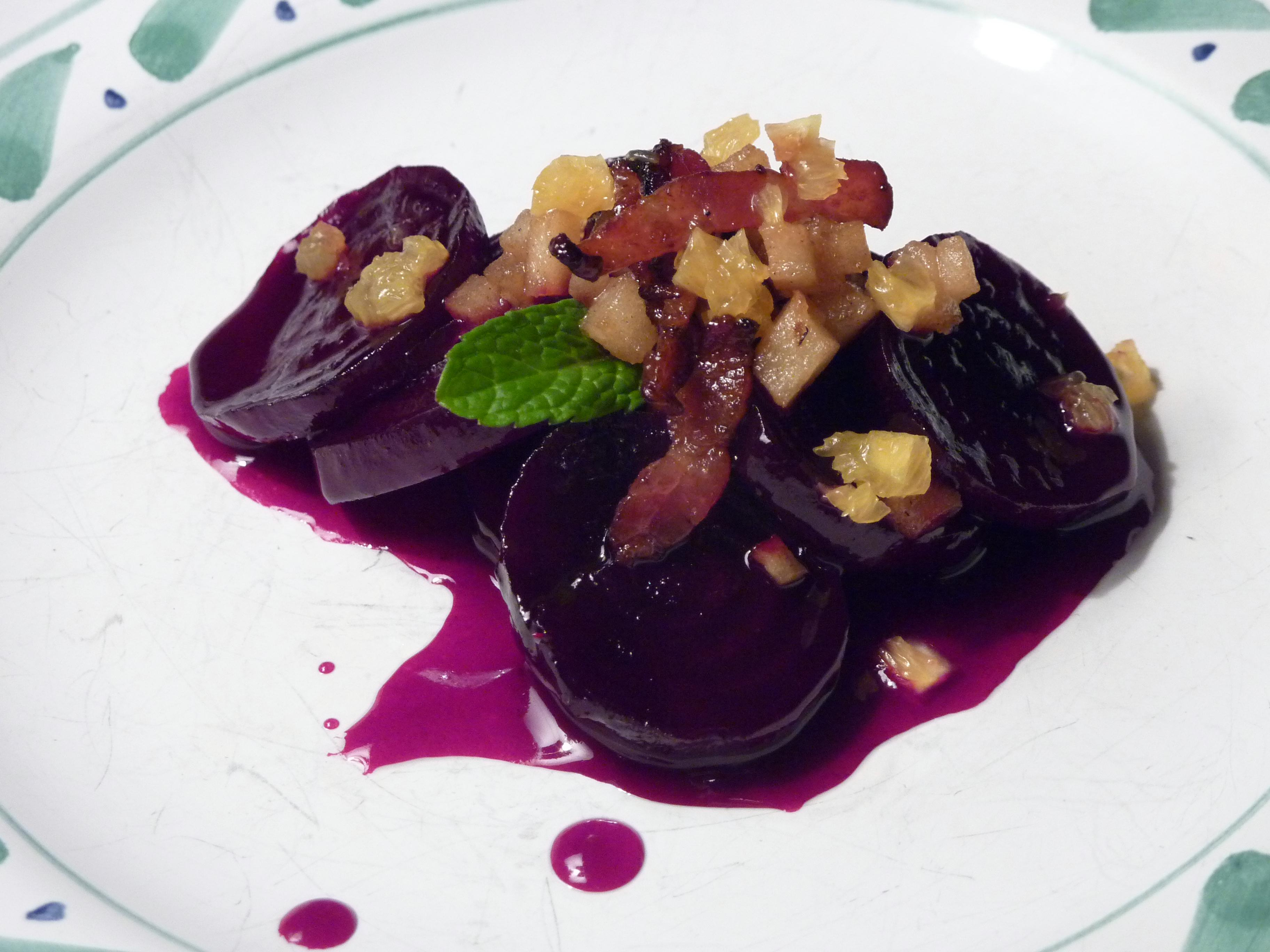 Mapled Beets with Apple-Orange Salsa and Bacon Lardons