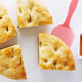 Easy Focaccia Bread with Creamy White Bean Dip