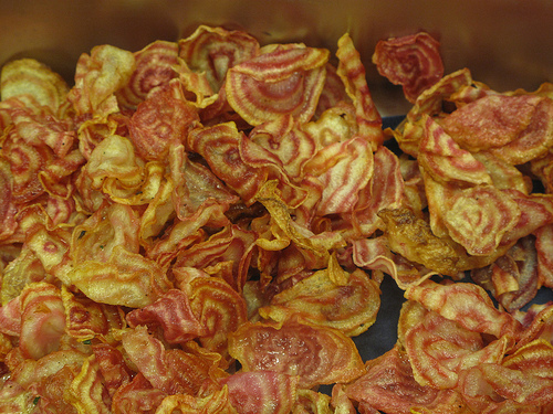 Chioggia chilli beetroot chips