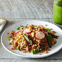 Wheatberry Salad with Radishes, Asparagus, Walnuts, and Spring Onions