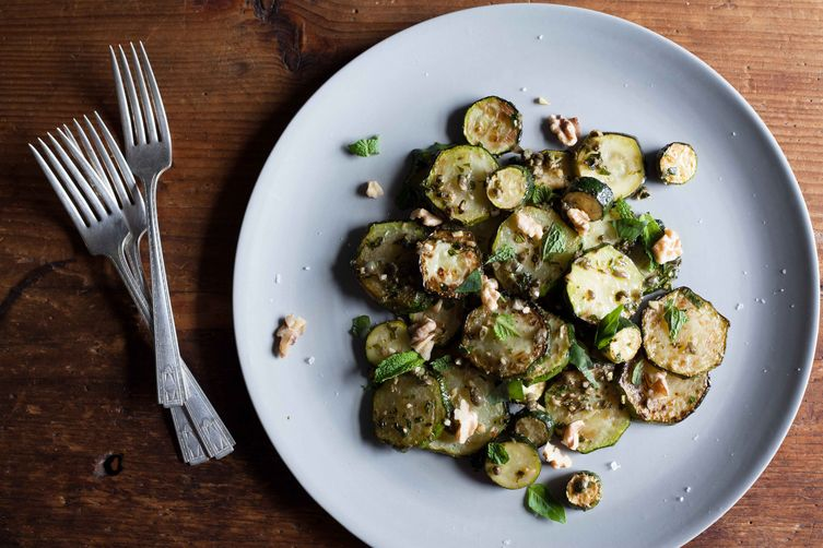 Sauteed Zucchini with Mint, Basil, and Walnuts