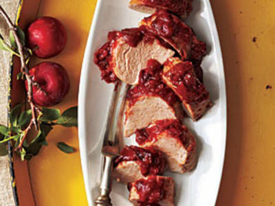 ROAST PORK TENDERLOIN WITH PLUM BARBECUE SAUCE