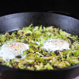 Brussels Sprouts Hash and Eggs