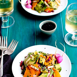Veggie-ribbon-salad-with-sesame-tangerine-vinaigrette-
