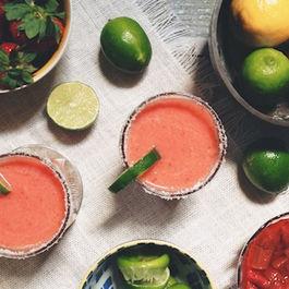 Strawberry Rhubarb Margaritas
