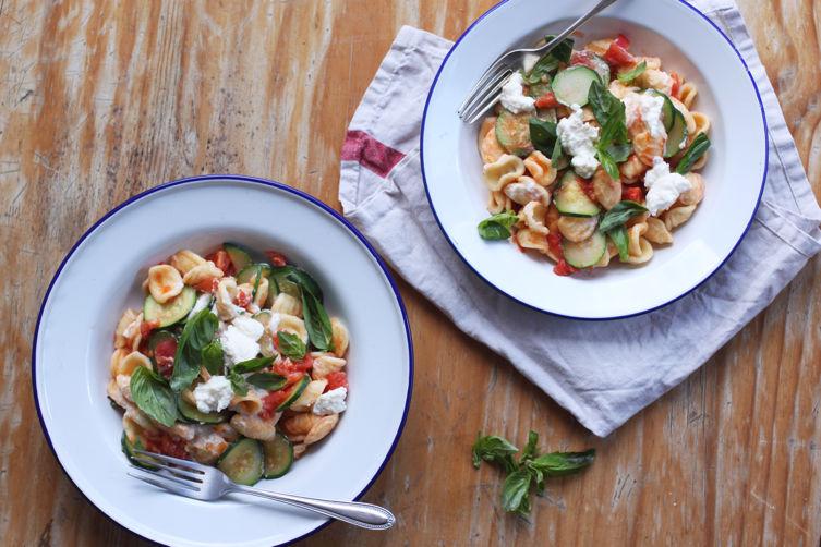 Orecchiette with Zucchini, Tomato, and Ricotta