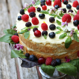 Lemon & Basil Chiffon with Lemon Mascarpone Frosting and Red & Black Raspberries