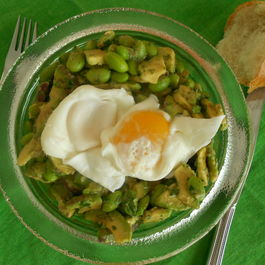 Avocado, Edamame & Parsley Salad with Poached Eggs