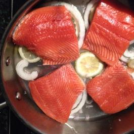"""Sake-Poached Salmon with Avocado-Mango """"Salsa"""""""