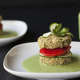 Quinoa Patties with Parsley and Cilantro Dressing