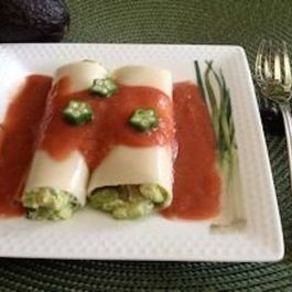 Tuna Avocado Cannelloni in Red-Shiso Gazpacho