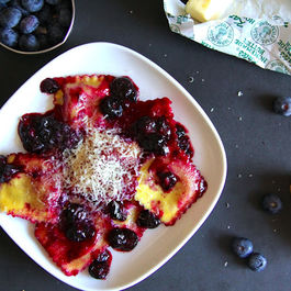 Ricotta Ravioli with Blueberry Pan Sauce