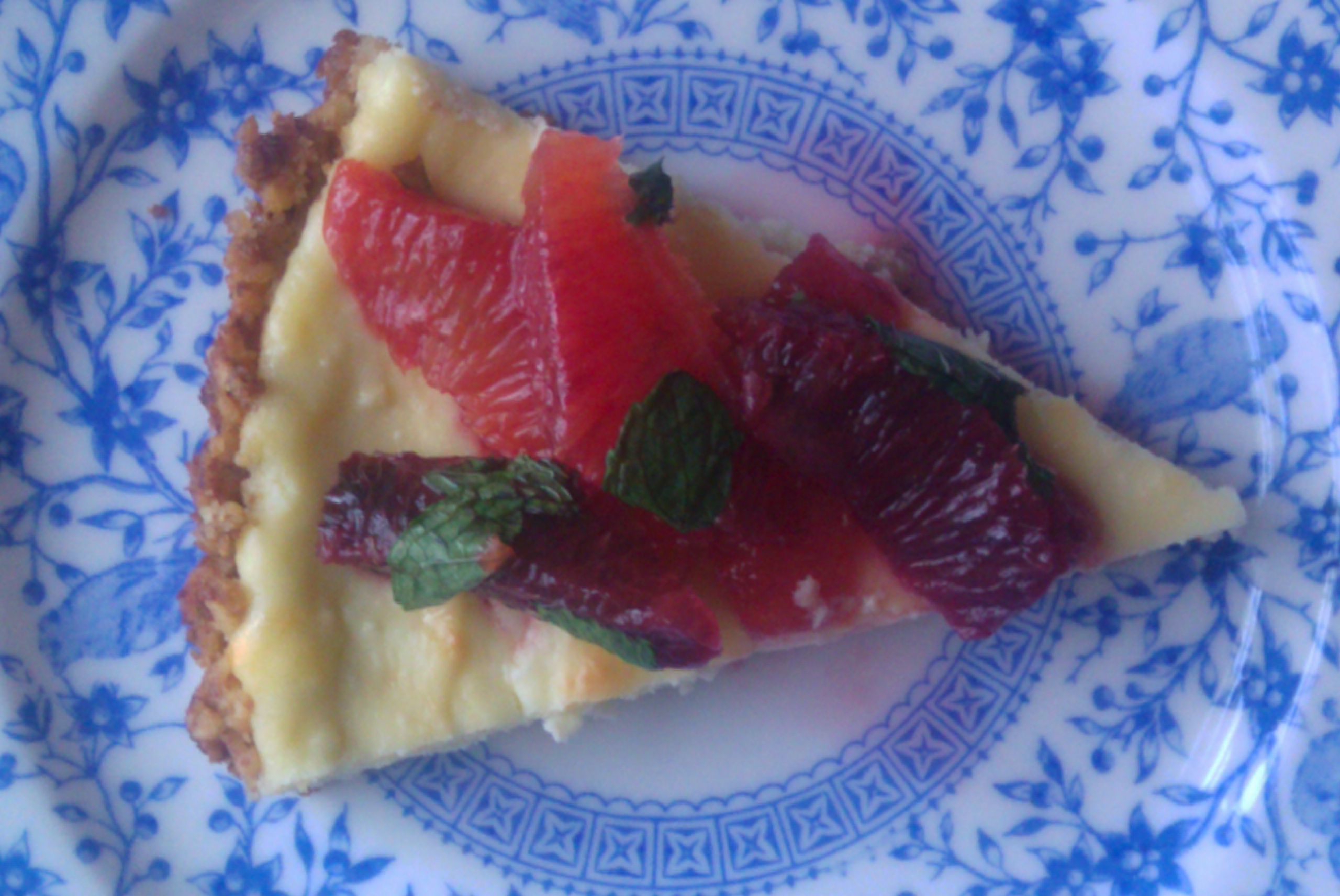 Feta Cheese Tart with Walnut Crust and Honeyed Blood Orange & Mint Salad