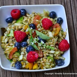 Berry Farro Salad with a cilantro and mint dressing