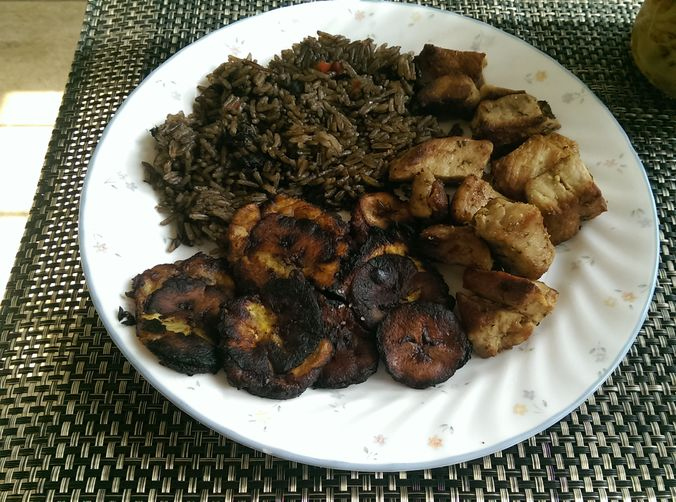 Haitian Griot and Djondjon rice with Fried Plaintains and ...