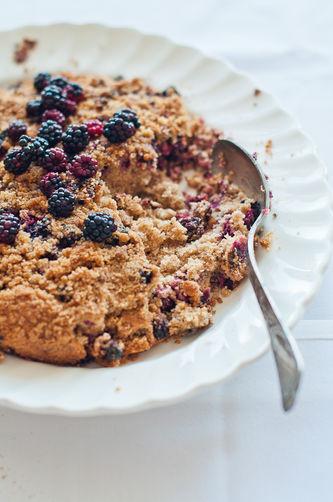 Blackberry Coconut Crumble Cake
