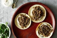 Mushroom-Lentil Tacos with Tahini Yogurt Sauce