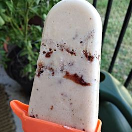 Golden Banana Cream Cheese Popsicles with Chocolate Coconut Chunks