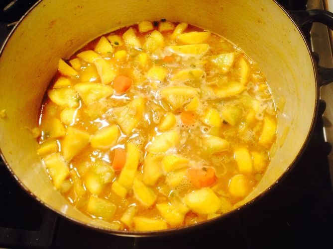 Curried Summer Squash Soup with Mango Chutney Cream recipe ...