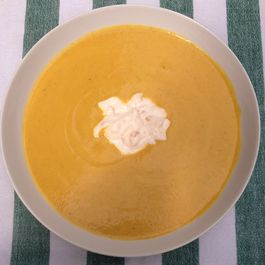Curried Summer Squash Soup with Mango Chutney Cream