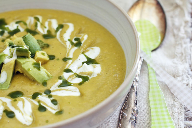 CHILLED AVOCADO SOUP + CILANTRO OIL Recipe on Food52