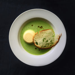 Sweet Corn Panna Cotta with Chilled Pea Veloute