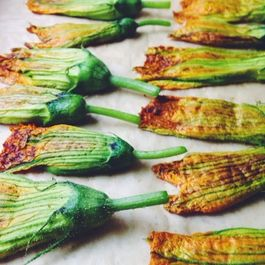 Pan-fried Stuffed Squash Blossoms with Lemony Walnut Ricotta