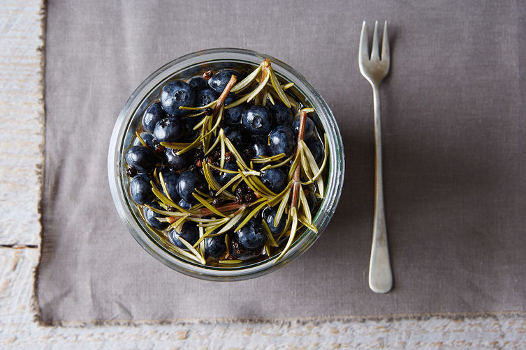 Pickled Blueberries with Rosemary Sprigs